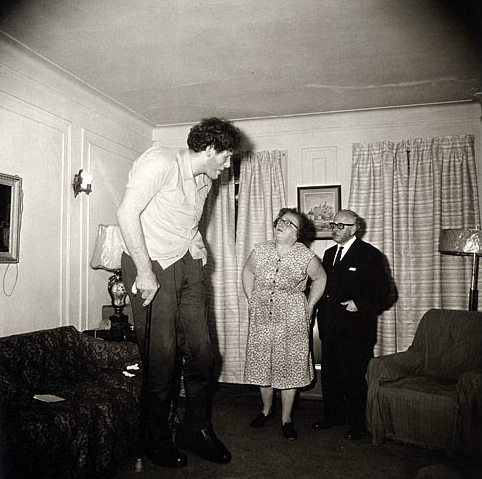 Jewish Giant at Home with His Parents in the Bronx